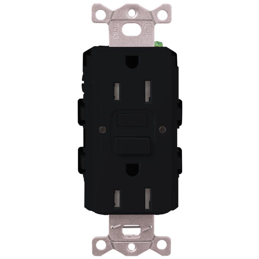 Lutron Claro 15-Amp Tamper-Resistant GFCI Duplex Receptacle, Black
