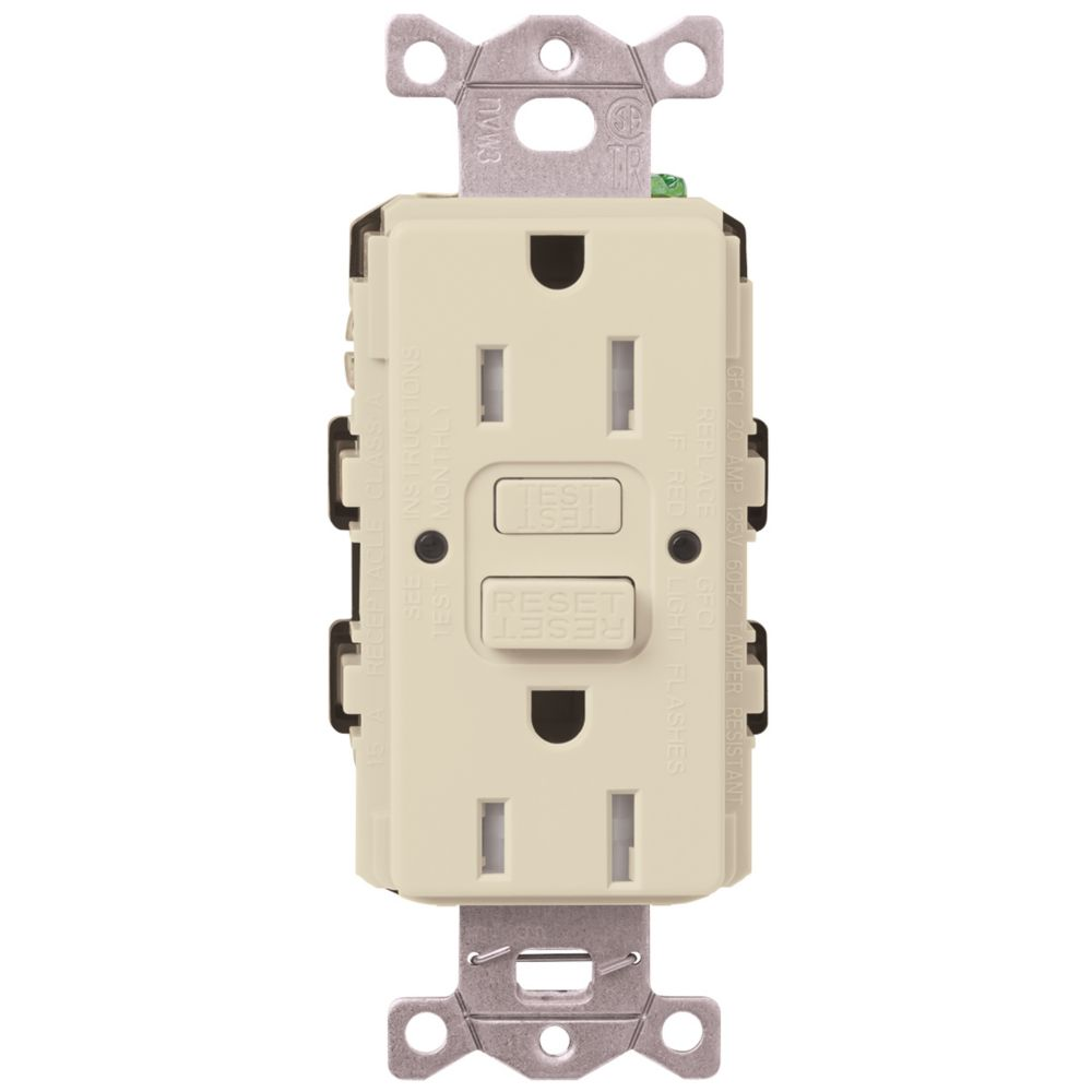 Decora 20 Amp Tamper Resistant Slim Gfci Receptacle Outlet With Wall Ground Fault Circuit Interrupter Cover White20amp Outlets Lutron Claro 15 Duplex