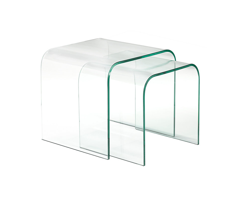 2-Piece Nesting Table Set, Clear Bent Glass