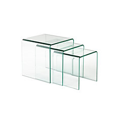 3 Piece Nesting Table Set, Clear Bent Glass