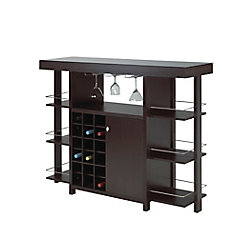 Brassex Inc. Bar with Smoked Glass Top, Expresso