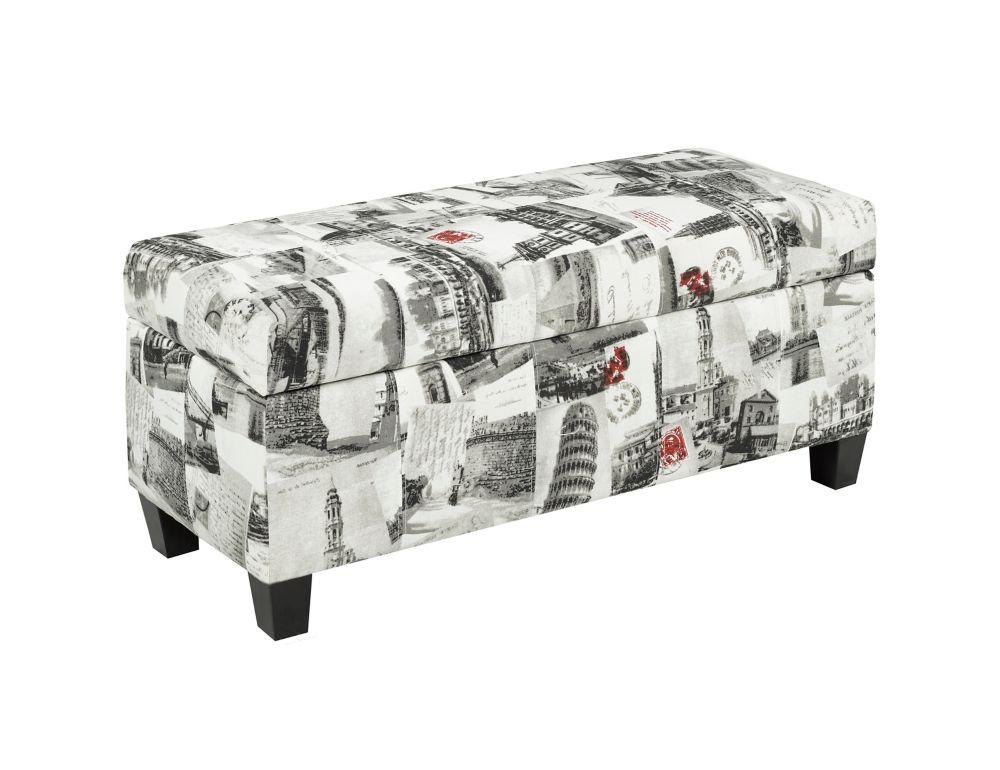 Pleasing Storage Ottoman With Storage City Printed Fabric Uwap Interior Chair Design Uwaporg