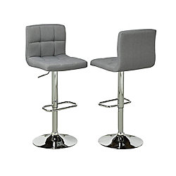 Brassex Inc. Adjustable Bar Stool in Grey (Set of 2)