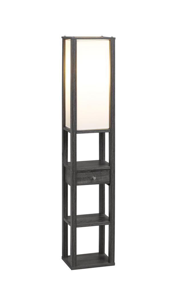 3 Tier Floor Lamp With Storage Drawer, Grey
