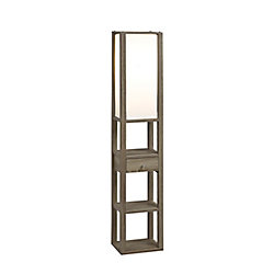 Brassex Inc. 3-Tier Floor Lamp with Storage Drawer, Dark Taupe