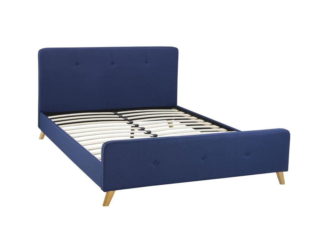 Brassex Inc. Queen Platform Bed, Blue