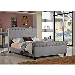 Brassex Inc. Queen Platform Bed, Grey