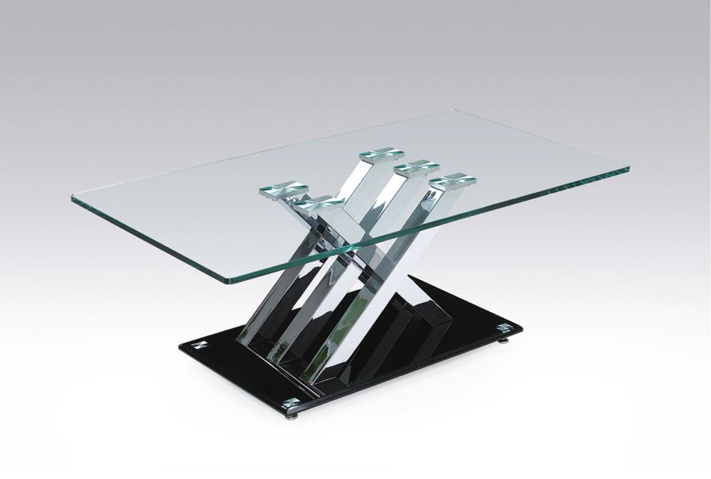 Brassex Inc. Cocktail Table, Silver/Black
