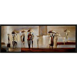 Art Maison Canada Ville à pied par Tina O. encadré peinture originale sur toile enveloppé
