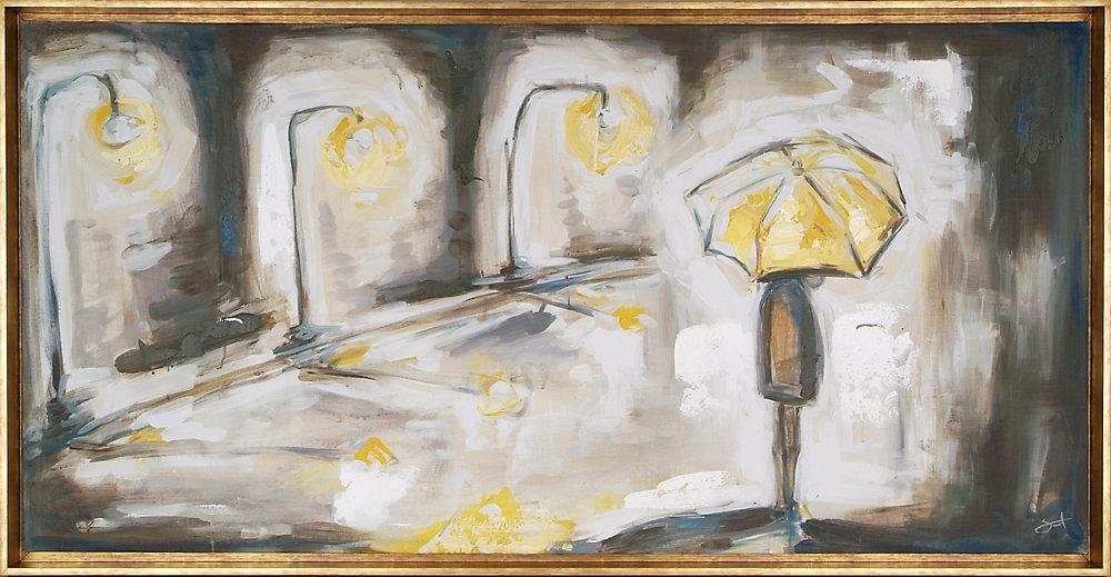 Umbrella Light by Heather Sinnott Framed Original Painting on Wrapped Canvas