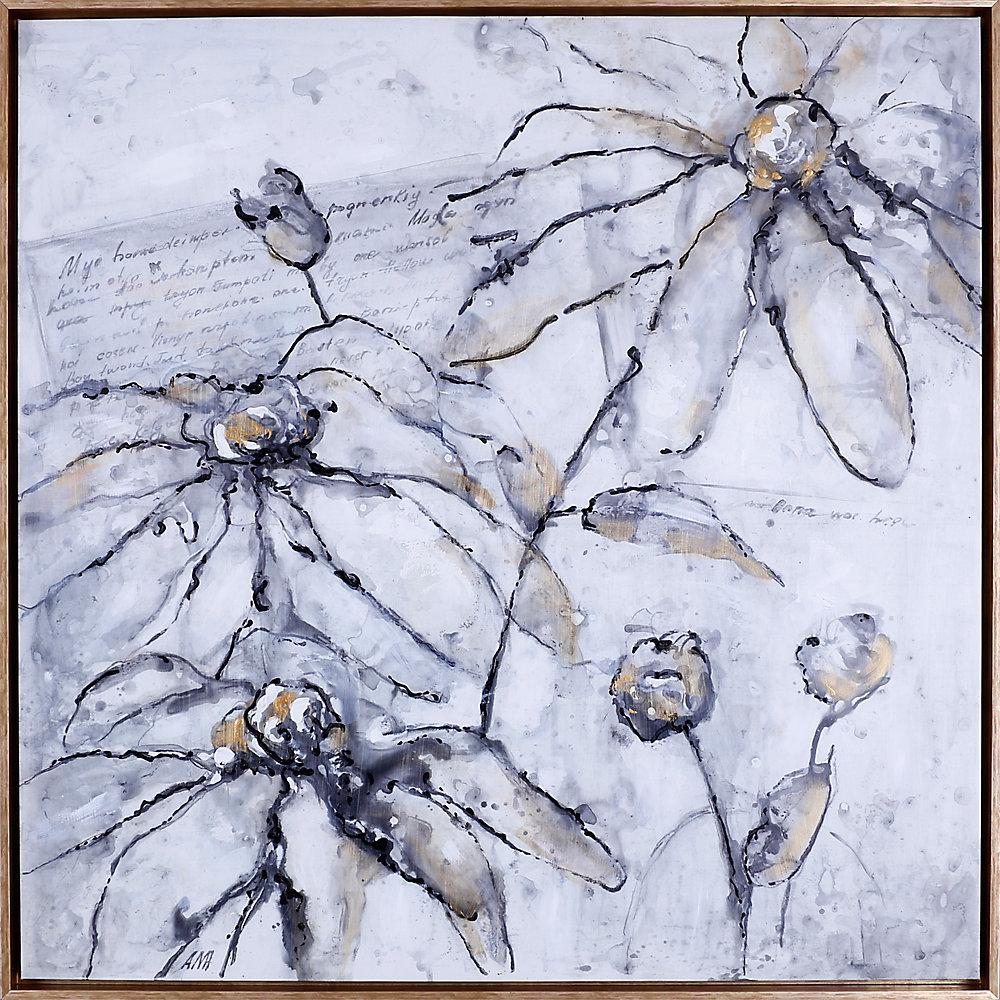 """X37.5 37,5"""" H » W prêt à accrocher, encadré Floral main toile peinte « Élégantes fleurs »"""