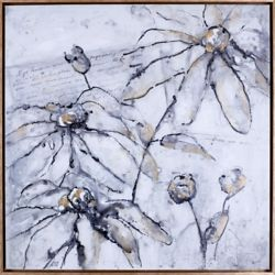 "Art Maison Canada 37.5"" H x37.5"" W Ready to Hang, Framed Floral Hand Painted Canvas  'Elegant Flowers'"