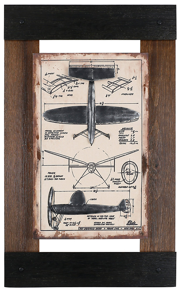 "40"""" H x 24.5"""" W Ready to Hang 'Metal Plane II' by Sam O. Mixed Media Metal Art DÃcor"