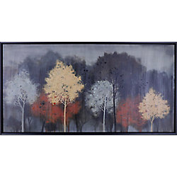 """Art Maison Canada 26.5"""" H x 50.5"""" W, Abstract Framed Hand Painted Canvas 'Water Color Trees' by Anastasia C."""