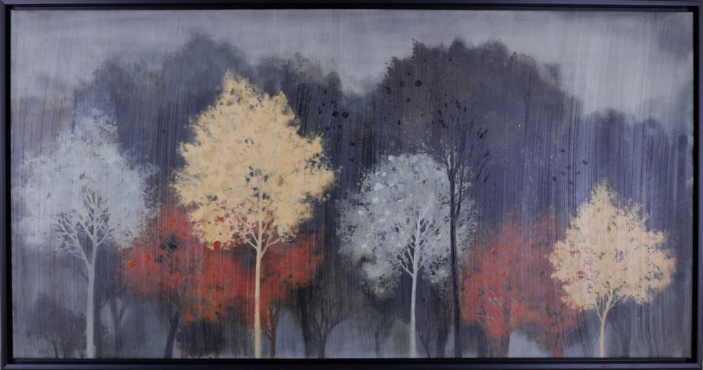 "Art Maison Canada 26.5"" H x 50.5"" W, Abstract Framed Hand Painted Canvas 'Water Color Trees' by Anastasia C."
