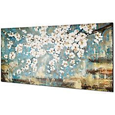 Fleur bleu par Tina O. Painting sur toile enveloppé