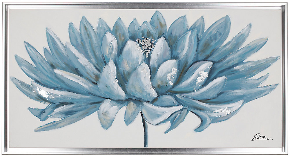 """26.5"""" H x 50"""" W Ready to Hang, Hand Painted 'Blue Floral' Wall Art on Wrapped Canvas"""