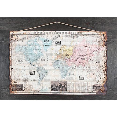 "21.5"""" H x 44"""" W Ready to Hang 'World Map' by Sam O. Mixed Media Metal Art DÃcor"