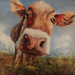 Art Maison Canada Vache sur terrain par Tina O. Painting impression sur toile enveloppé