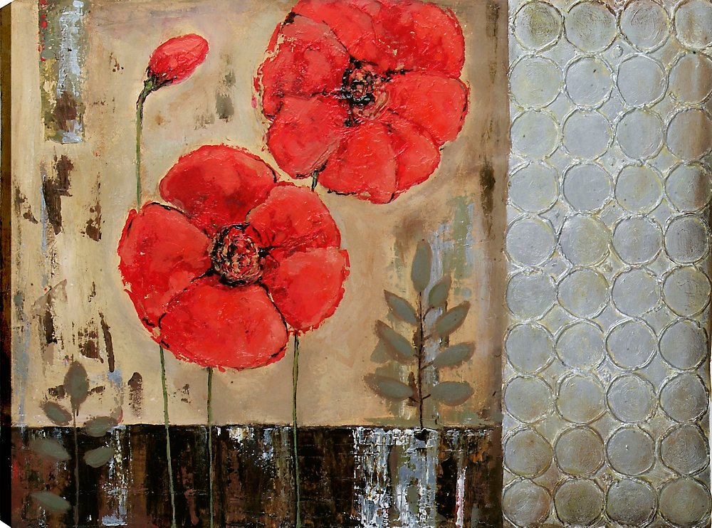 Geometric Floral I by Tina O. Original Painting on Wrapped Canvas