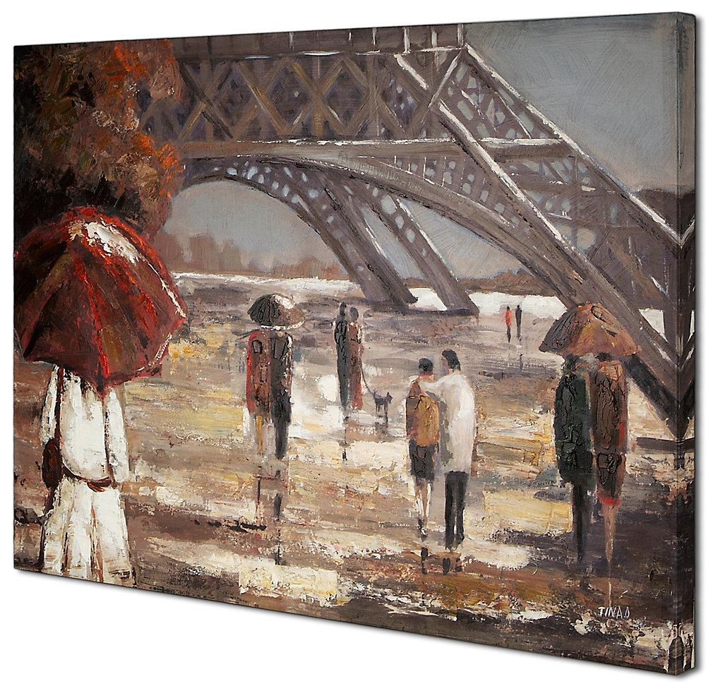 Marcher par le II de la Tour Eiffel par Tina O. Original peinture sur toile enveloppé