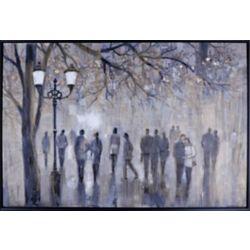 """Art Maison Canada 38,5"""" H x 56,5"""" W prêt à accrocher, encadré main peint toile «Street Walk» par C. Anastasia"""