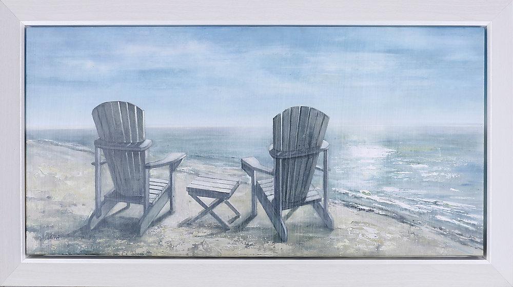 """23,25"""" H x 38,25"""" W prêt à accrocher, encadré main peint toile «Mer côté reste» par C. Anastasia"""