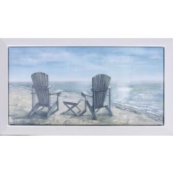 "Art Maison Canada 23.25"" H x 38.25"" W Ready to Hang, Framed Hand Painted Canvas 'Sea Side Rest' by Anastasia C."