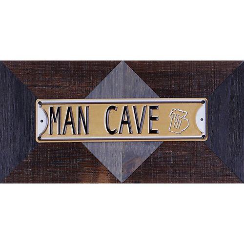 """11.25"""""""" H x 22.25"""""""" W Ready to Hang 'Man Cave' by Sam O. Words and Messages Mixed Metal Art DÃcor"""