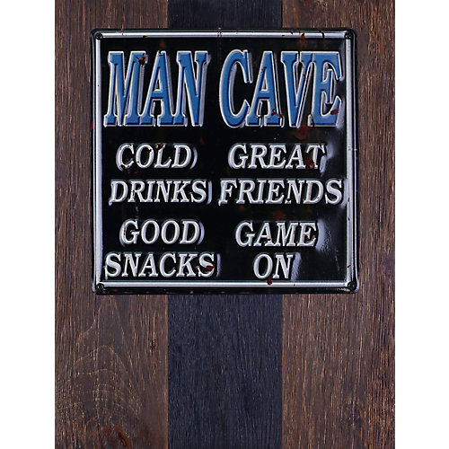 """20"""""""" H x 15"""""""" W Ready to Hang 'Man Cave' by Sam O. Words and Messages Mixed Metal Art DÃcor"""