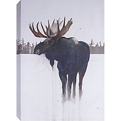 "Art Maison Canada 48"" H x32"" W 'Golden Moose' by Daniel St Amant, Wildlife Wall Art on Wrapped Canvas"