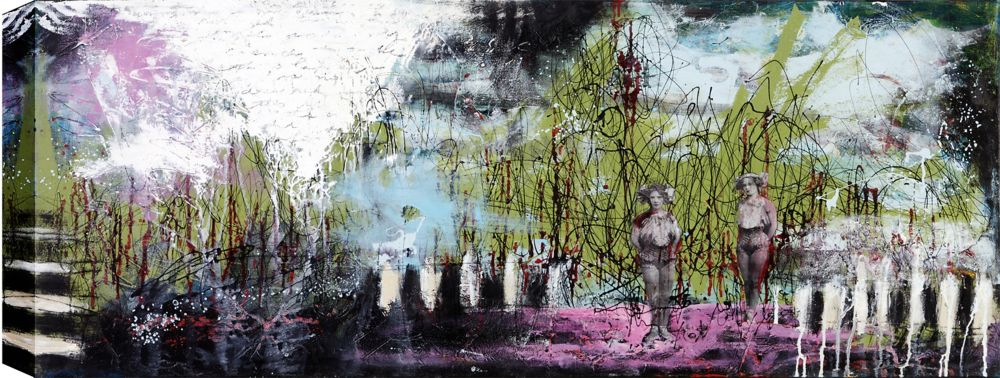 Art Maison Canada The Peep Show, Abstract Canvas Print Wall Art 24X48