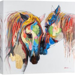 Art Maison Canada Colored Horses Graphic Art on Wrapped Canvas