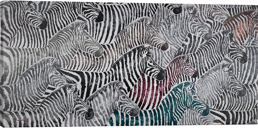 Peinture dimpression sur toile enveloppé de zèbres
