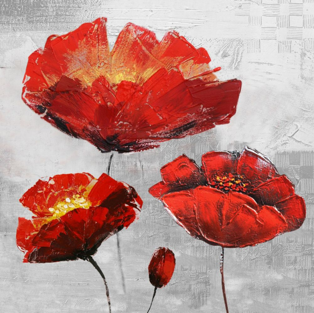 Art Maison Canada Red Floral I Painting Print on Wrapped Canvas