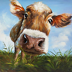 Art Maison Canada Cow in Field Painting Print on Wrapped Canvas