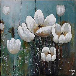 Art Maison Canada White Floral Painting Print on Wrapped Canvas