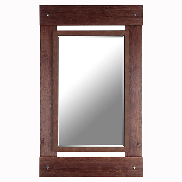 "Real Wood 30"" x 43"" Beveled Mirror"