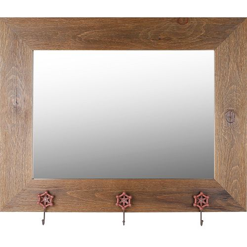 """Mirrorize Canada Real Wood 29"""" x 37"""" Mirror With Hangers- Brown Wash"""