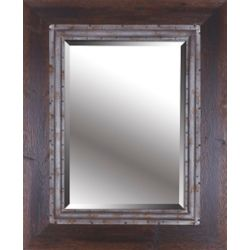 Mirrorize Canada Brown Industrial I, Hand Stained Wood Frame Metal Beveled Mirror 31.75X39.75 (Inner Mirror 20X28)