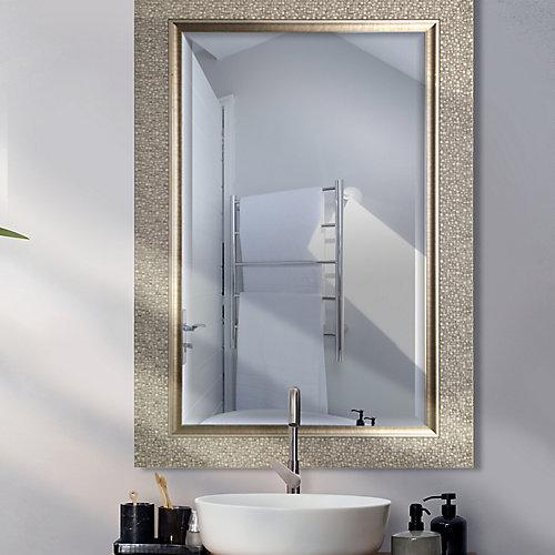 Miroir biseauté argent designer 27 X 43 (miroir d'intérieur 20 X 36)