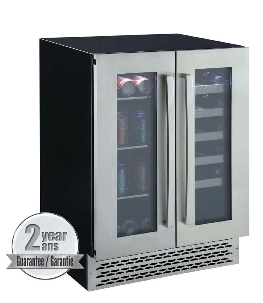 Marathon 24-inch Dual Zone Premium Built-In Beverage/Wine Cooler with French Doors