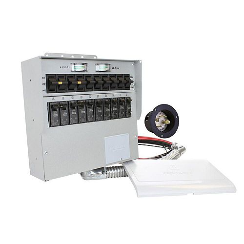 Reliance Controls 310A 30-Amp 10-Circuit Manual Transfer Switch/Meters, Power Inlet