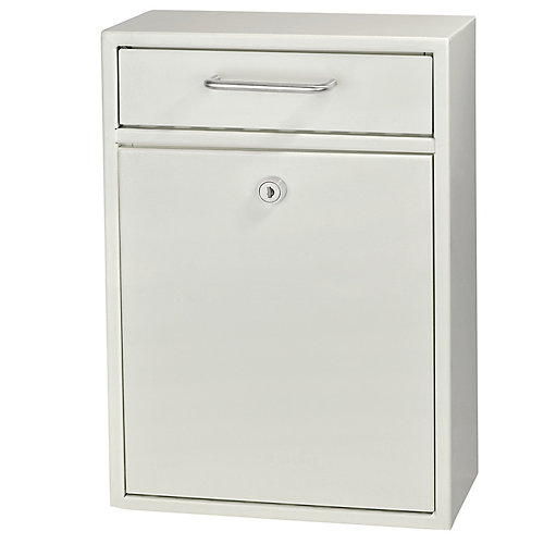 Locking Security Drop Box, White