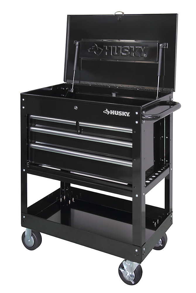 Husky Tool Cart >> 33 Inch 4 Drawer Mechanics Tool Utility Cart In Black