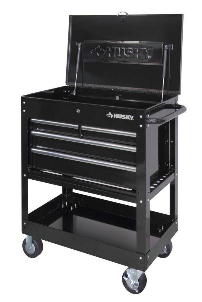 HUSKY 33 inch 4-Drawer Mechanics Utility Cart in Black