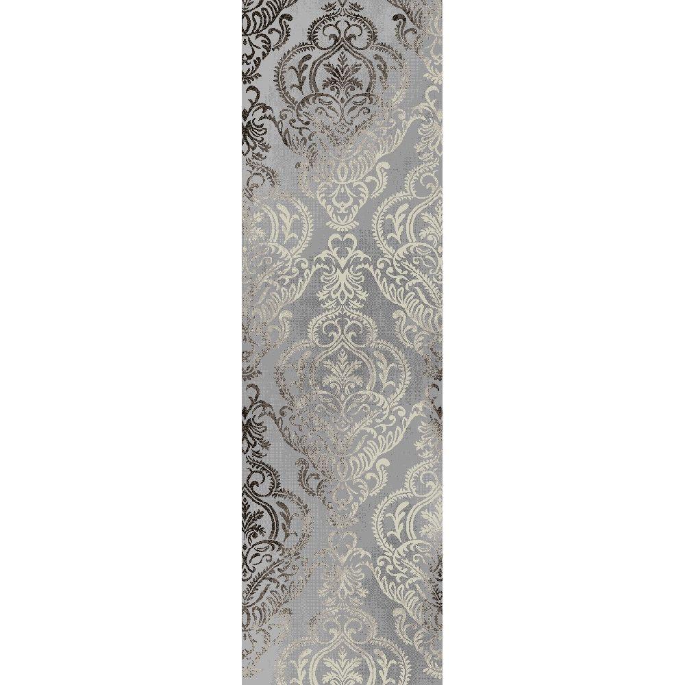 Merinos Damask Grey 2 ft. 2.25-inch x 7 ft. 4.5-inch Contemporary Runner