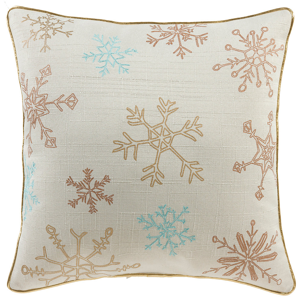 18 -inch x 18 -inch Metallic Snowflakes Holiday Pillow