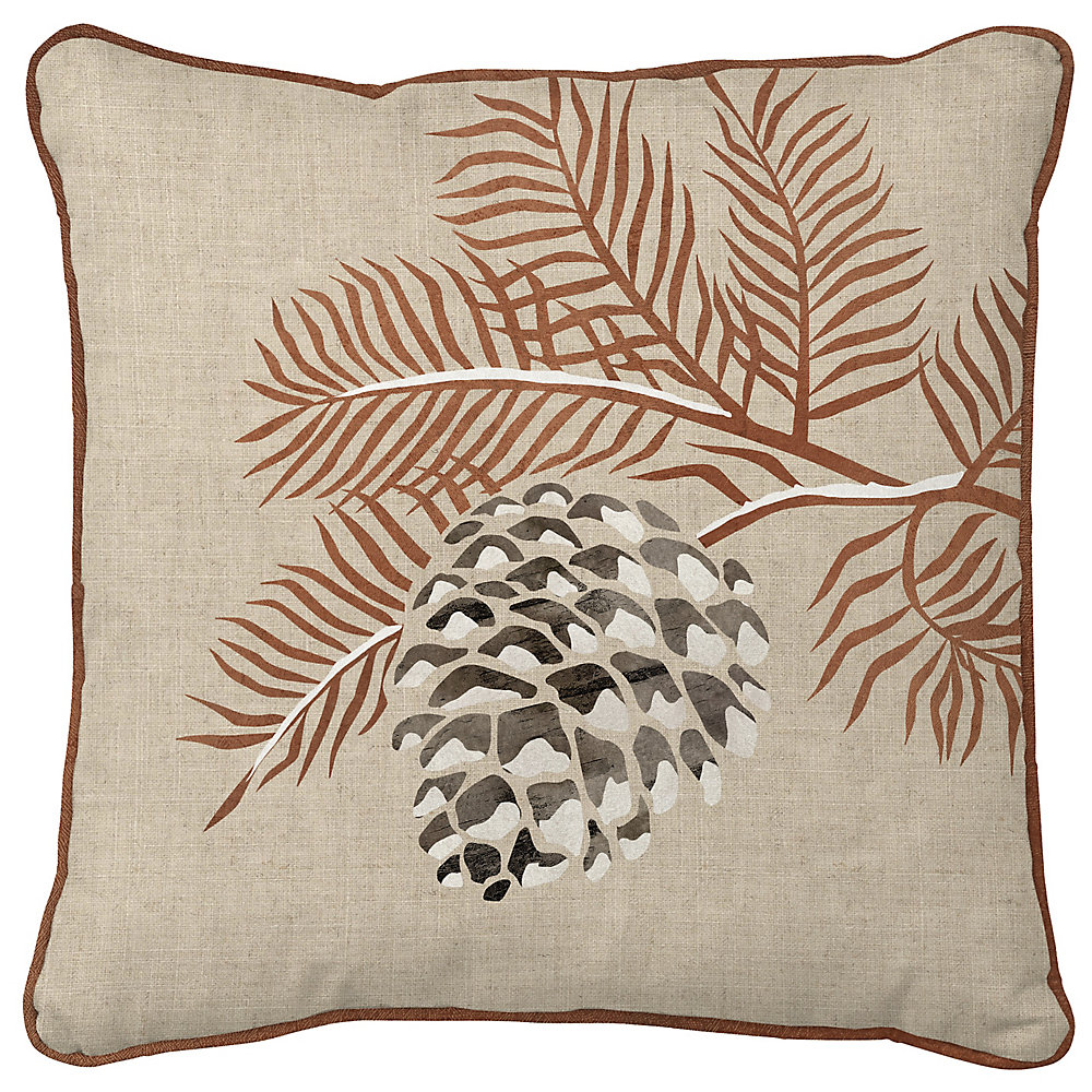 18 -inch x 18 -inch Pine Cone Holiday Pillow