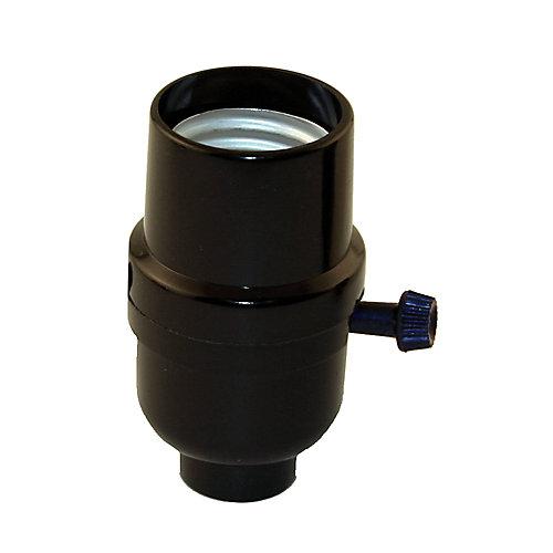 Medium Base Socket, Turn Knob Socket, Black Phenolic